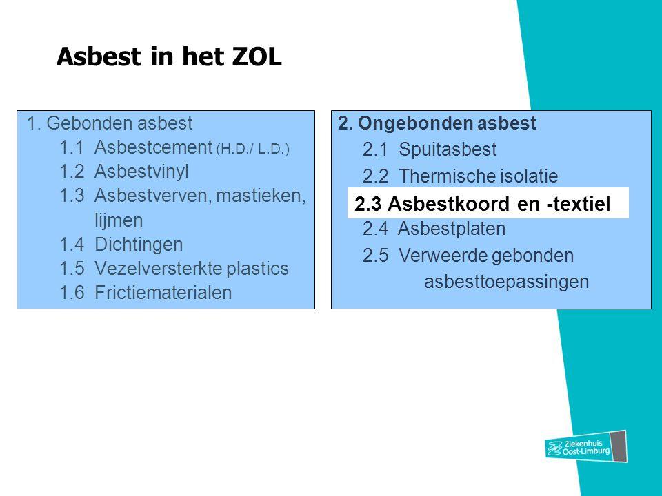 Asbest in het ZOL 1. Gebonden asbest 1.1 Asbestcement (H.D./ L.D.) 1.2 Asbestvinyl 1.3 Asbestverven, mastieken, lijmen 1.4 Dichtingen 1.5 Vezelverster