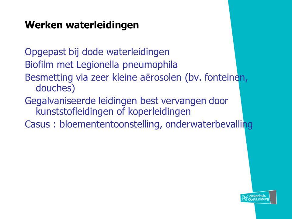 Werken waterleidingen Opgepast bij dode waterleidingen Biofilm met Legionella pneumophila Besmetting via zeer kleine aërosolen (bv. fonteinen, douches