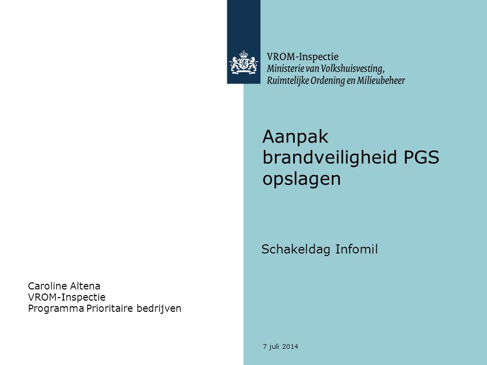 7 juli 2014 Aanpak brandveiligheid PGS opslagen Schakeldag Infomil Caroline Altena VROM-Inspectie Programma Prioritaire bedrijven