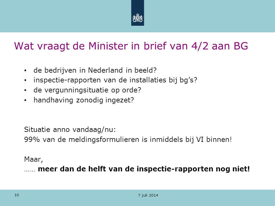 10 Wat vraagt de Minister in brief van 4/2 aan BG de bedrijven in Nederland in beeld? inspectie-rapporten van de installaties bij bg's? de vergunnings