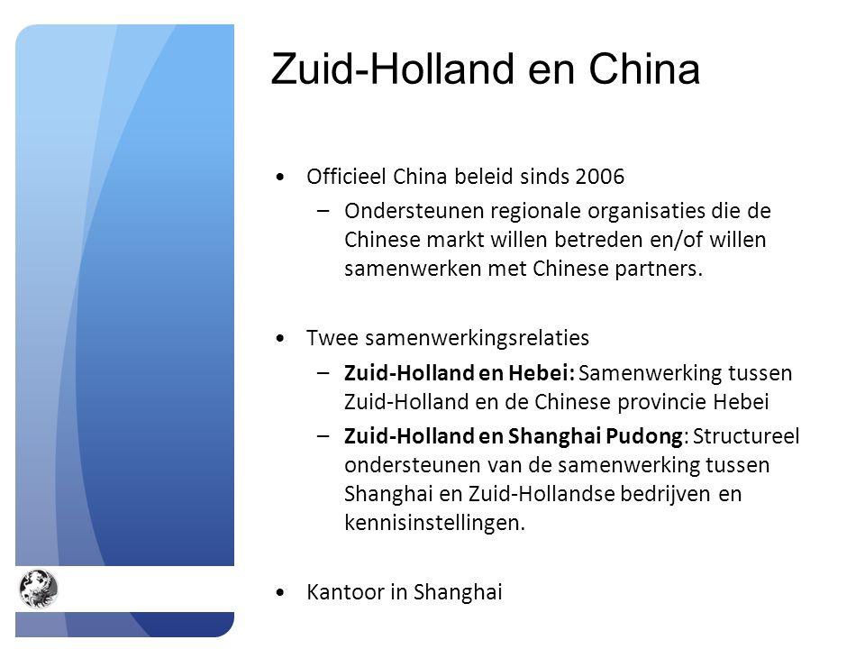 Zuid-Holland en China Officieel China beleid sinds 2006 –Ondersteunen regionale organisaties die de Chinese markt willen betreden en/of willen samenwerken met Chinese partners.