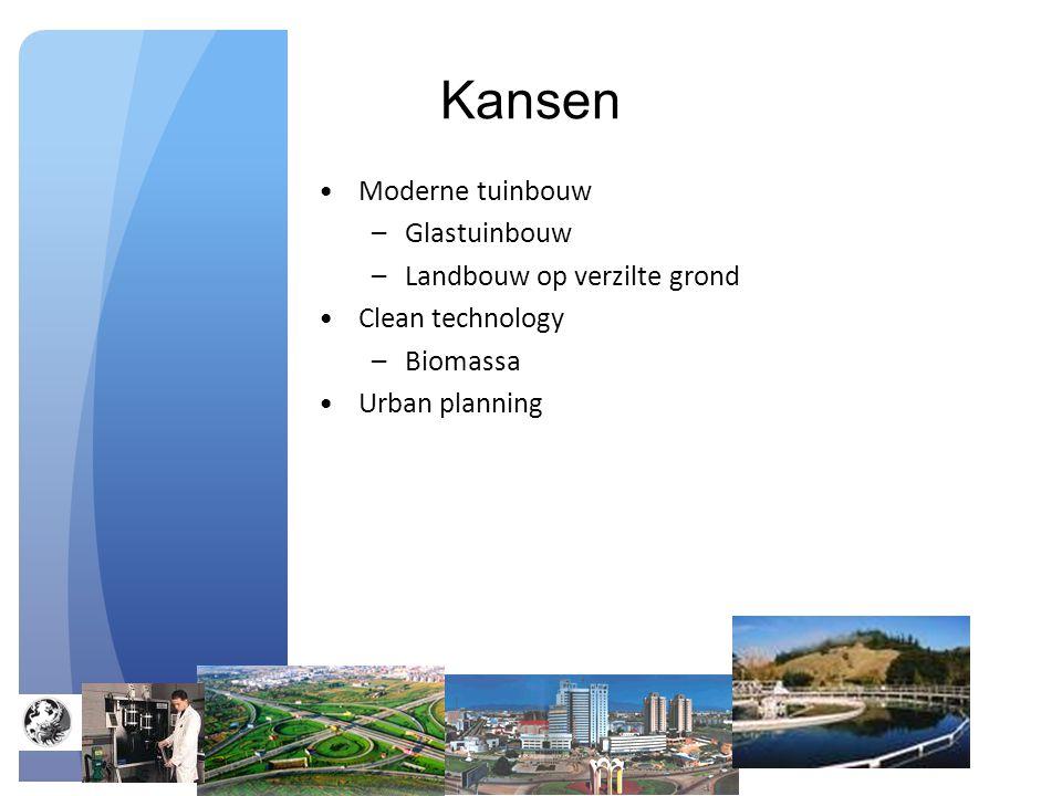 Kansen Moderne tuinbouw –Glastuinbouw –Landbouw op verzilte grond Clean technology –Biomassa Urban planning