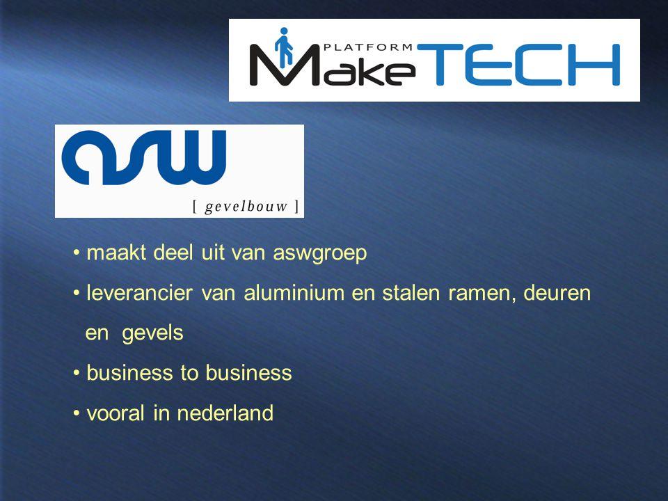 maakt deel uit van aswgroep leverancier van aluminium en stalen ramen, deuren en gevels business to business vooral in nederland