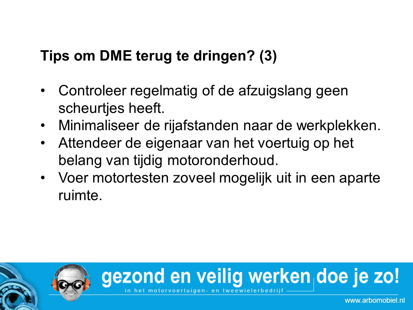 Strategie actie Autoboulevards Tips om DME terug te dringen.