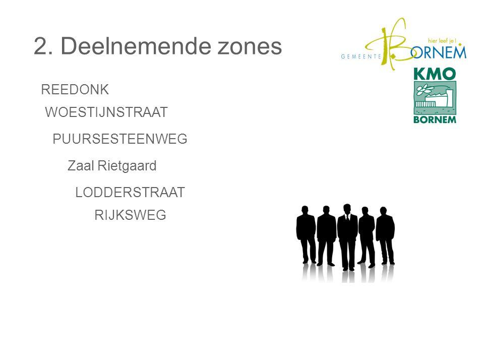 2. Deelnemende zones REEDONK WOESTIJNSTRAAT PUURSESTEENWEG LODDERSTRAAT RIJKSWEG Zaal Rietgaard