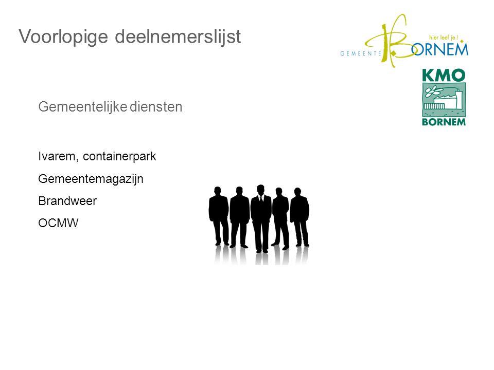 Gemeentelijke diensten Voorlopige deelnemerslijst Ivarem, containerpark Gemeentemagazijn Brandweer OCMW