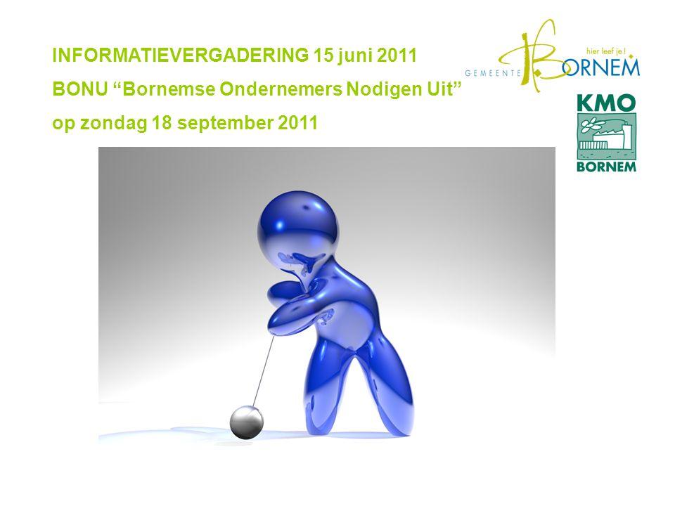 INFORMATIEVERGADERING 15 juni 2011 BONU Bornemse Ondernemers Nodigen Uit op zondag 18 september 2011