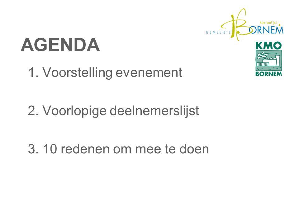 AGENDA 1. Voorstelling evenement 2. Voorlopige deelnemerslijst 3. 10 redenen om mee te doen