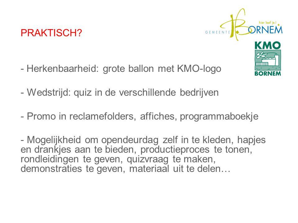 PRAKTISCH? - Herkenbaarheid: grote ballon met KMO-logo - Wedstrijd: quiz in de verschillende bedrijven - Promo in reclamefolders, affiches, programmab