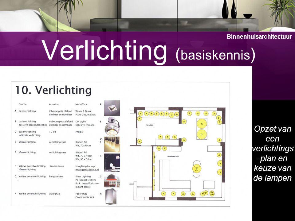 14 Verlichting ( basiskennis ) Opzet van een verlichtings -plan en keuze van de lampen Binnenhuisarchitectuur