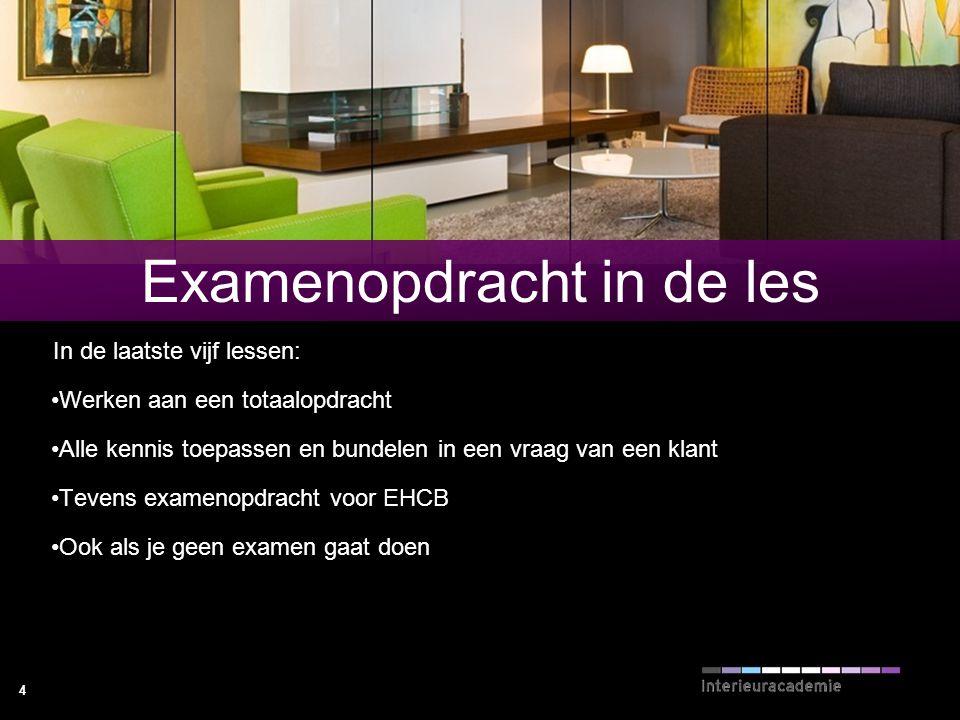 4 Examenopdracht in de les In de laatste vijf lessen: Werken aan een totaalopdracht Alle kennis toepassen en bundelen in een vraag van een klant Teven