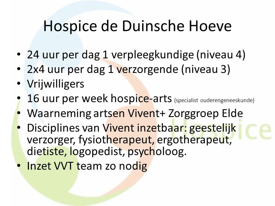 Hospice de Duinsche Hoeve 24 uur per dag 1 verpleegkundige (niveau 4) 2x4 uur per dag 1 verzorgende (niveau 3) Vrijwilligers 16 uur per week hospice-a