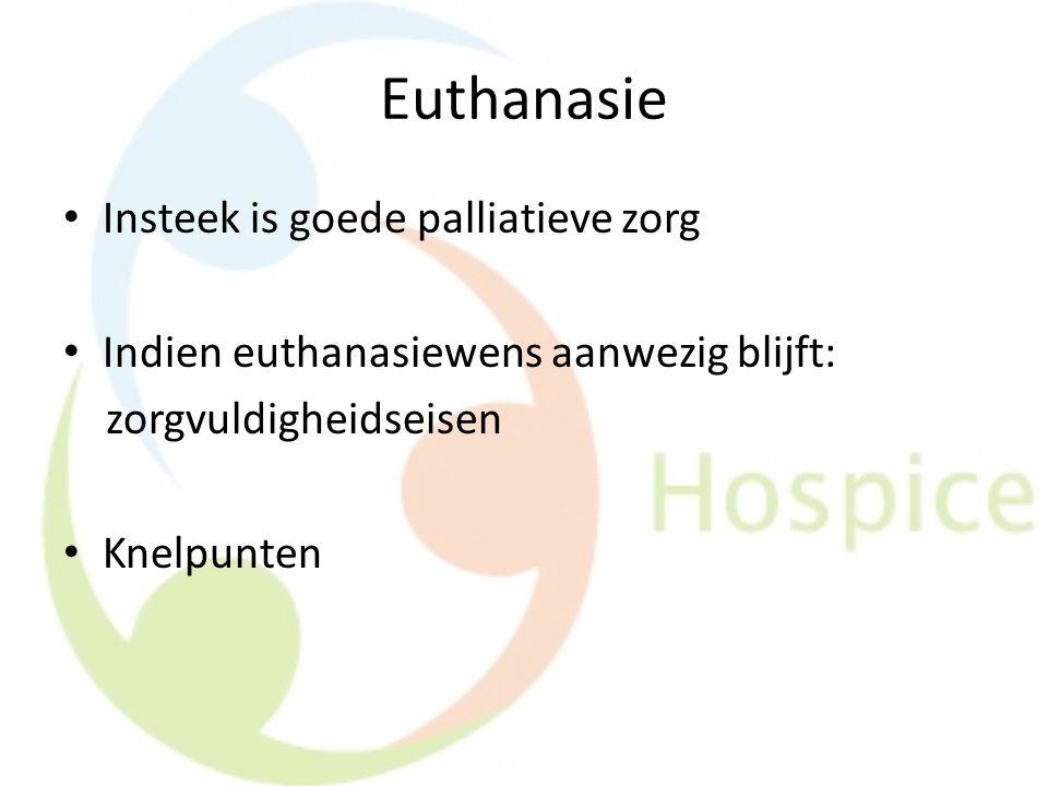 Euthanasie Insteek is goede palliatieve zorg Indien euthanasiewens aanwezig blijft: zorgvuldigheidseisen Knelpunten