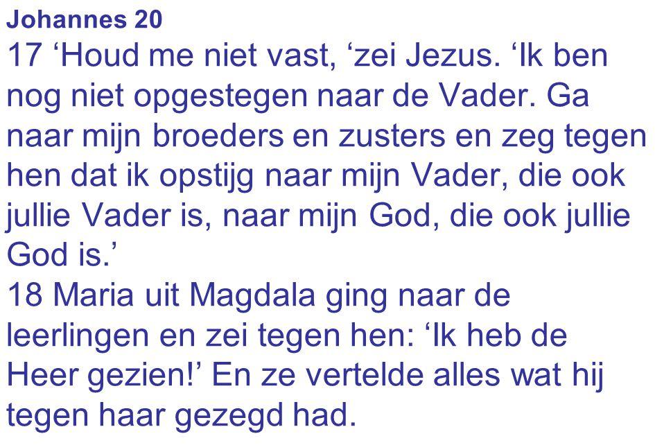 Johannes 20 17 'Houd me niet vast, 'zei Jezus. 'Ik ben nog niet opgestegen naar de Vader. Ga naar mijn broeders en zusters en zeg tegen hen dat ik ops