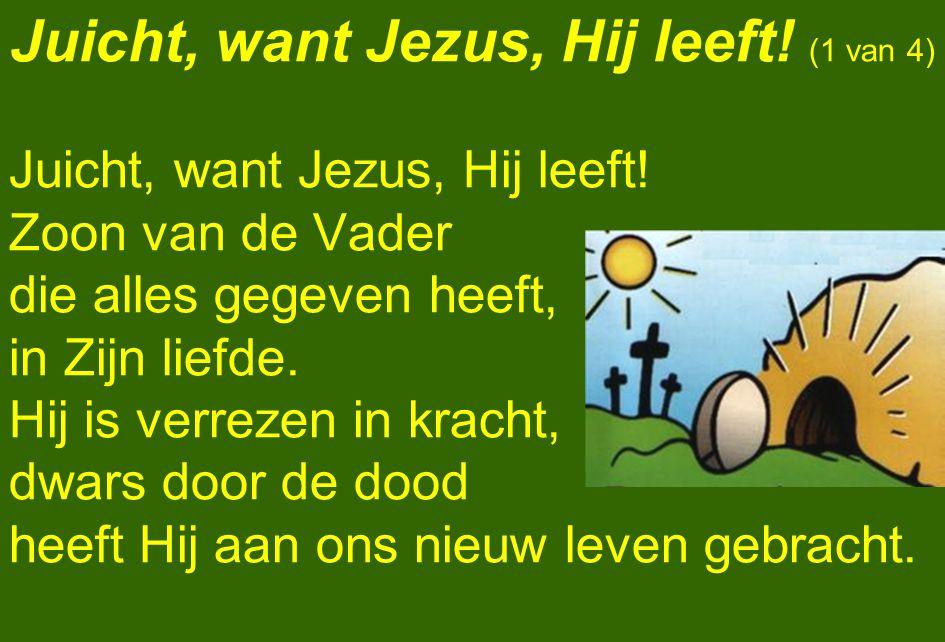 Juicht, want Jezus, Hij leeft! (1 van 4) Juicht, want Jezus, Hij leeft! Zoon van de Vader die alles gegeven heeft, in Zijn liefde. Hij is verrezen in