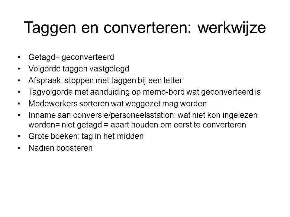 Taggen en converteren: werkwijze Getagd= geconverteerd Volgorde taggen vastgelegd Afspraak: stoppen met taggen bij een letter Tagvolgorde met aanduidi