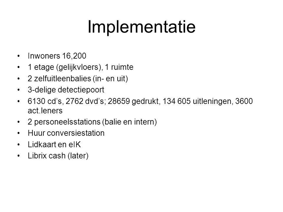 Implementatie Inwoners 16,200 1 etage (gelijkvloers), 1 ruimte 2 zelfuitleenbalies (in- en uit) 3-delige detectiepoort 6130 cd's, 2762 dvd's; 28659 gedrukt, 134 605 uitleningen, 3600 act.leners 2 personeelsstations (balie en intern) Huur conversiestation Lidkaart en eIK Librix cash (later)