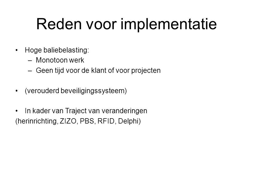 Reden voor implementatie Hoge baliebelasting: –Monotoon werk –Geen tijd voor de klant of voor projecten (verouderd beveiligingssysteem) In kader van Traject van veranderingen (herinrichting, ZIZO, PBS, RFID, Delphi)