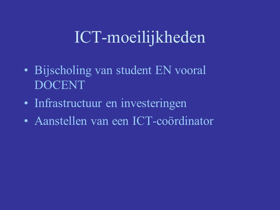 ICT-moeilijkheden Bijscholing van student EN vooral DOCENT Infrastructuur en investeringen Aanstellen van een ICT-coördinator