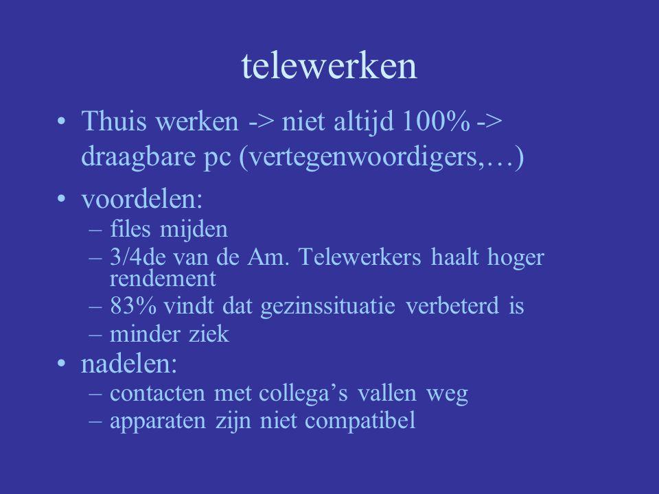 telewerken Thuis werken -> niet altijd 100% -> draagbare pc (vertegenwoordigers,…) voordelen: –files mijden –3/4de van de Am. Telewerkers haalt hoger