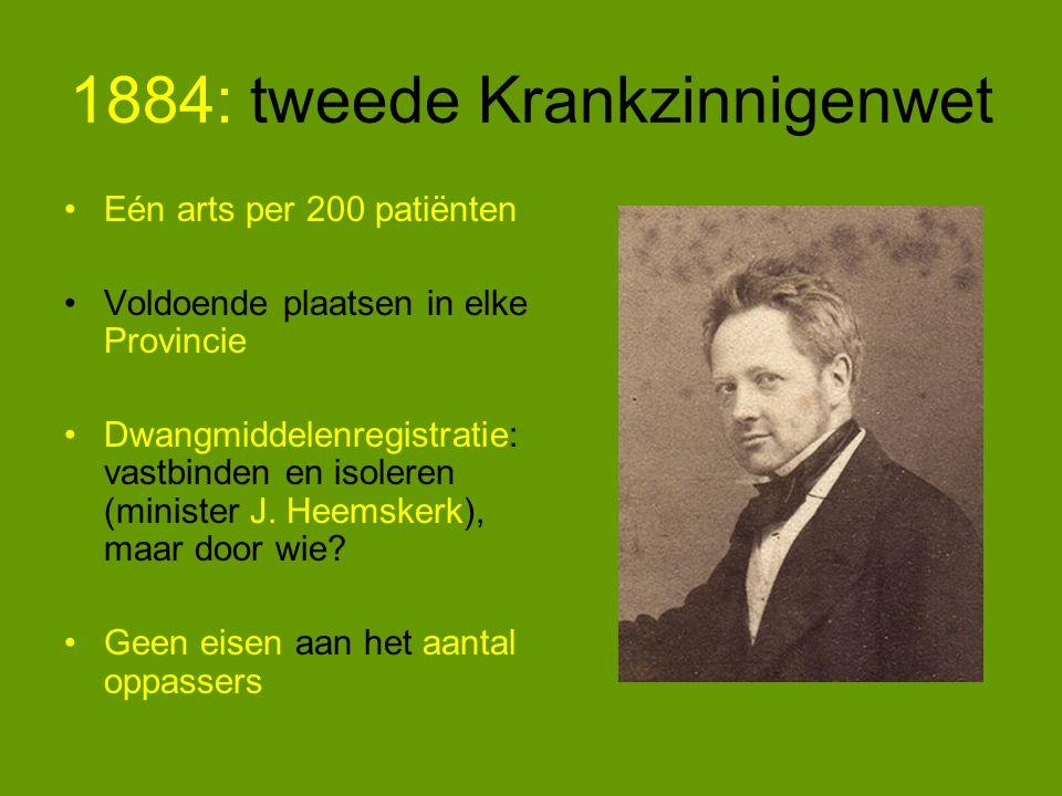 1884: tweede Krankzinnigenwet Eén arts per 200 patiënten Voldoende plaatsen in elke Provincie Dwangmiddelenregistratie: vastbinden en isoleren (minister J.