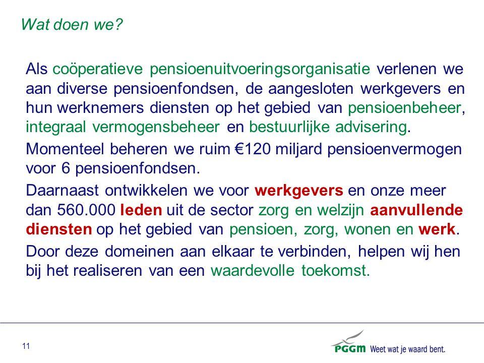 11 Als coöperatieve pensioenuitvoeringsorganisatie verlenen we aan diverse pensioenfondsen, de aangesloten werkgevers en hun werknemers diensten op he