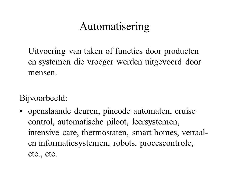 Automatisering Uitvoering van taken of functies door producten en systemen die vroeger werden uitgevoerd door mensen.
