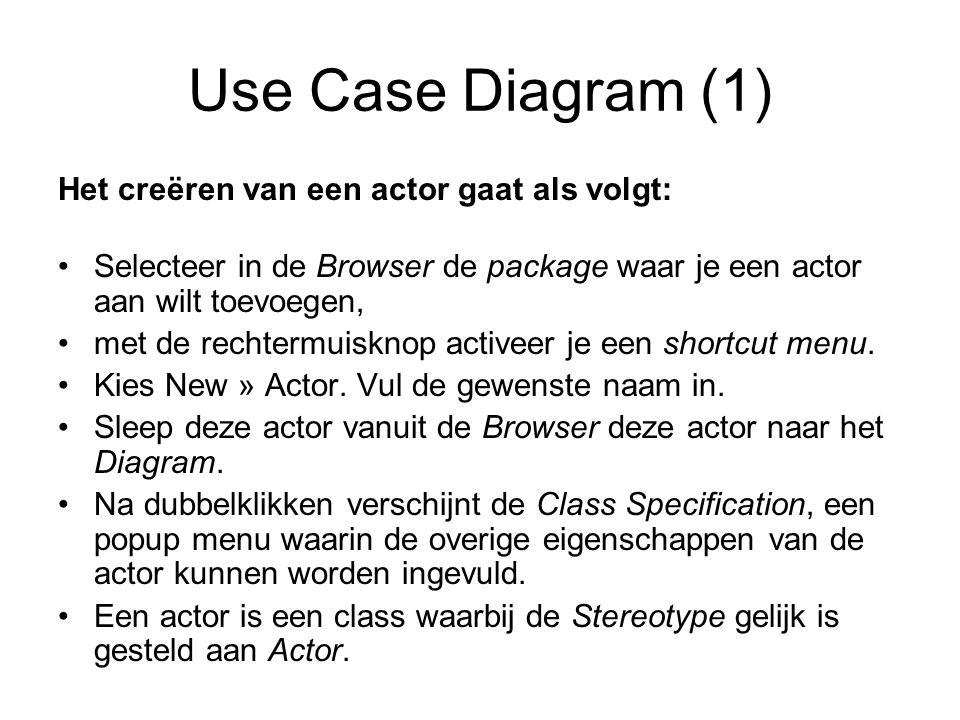 Use Case Diagram (1) Het creëren van een actor gaat als volgt: Selecteer in de Browser de package waar je een actor aan wilt toevoegen, met de rechter