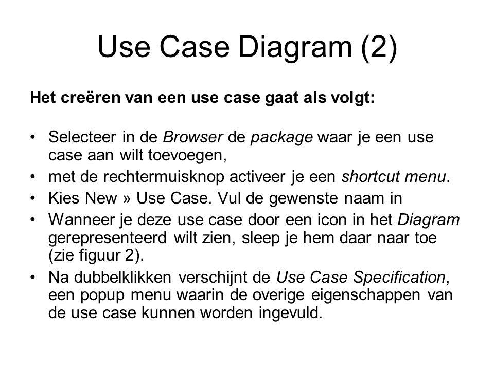 Use Case Diagram (2) Het creëren van een use case gaat als volgt: Selecteer in de Browser de package waar je een use case aan wilt toevoegen, met de rechtermuisknop activeer je een shortcut menu.