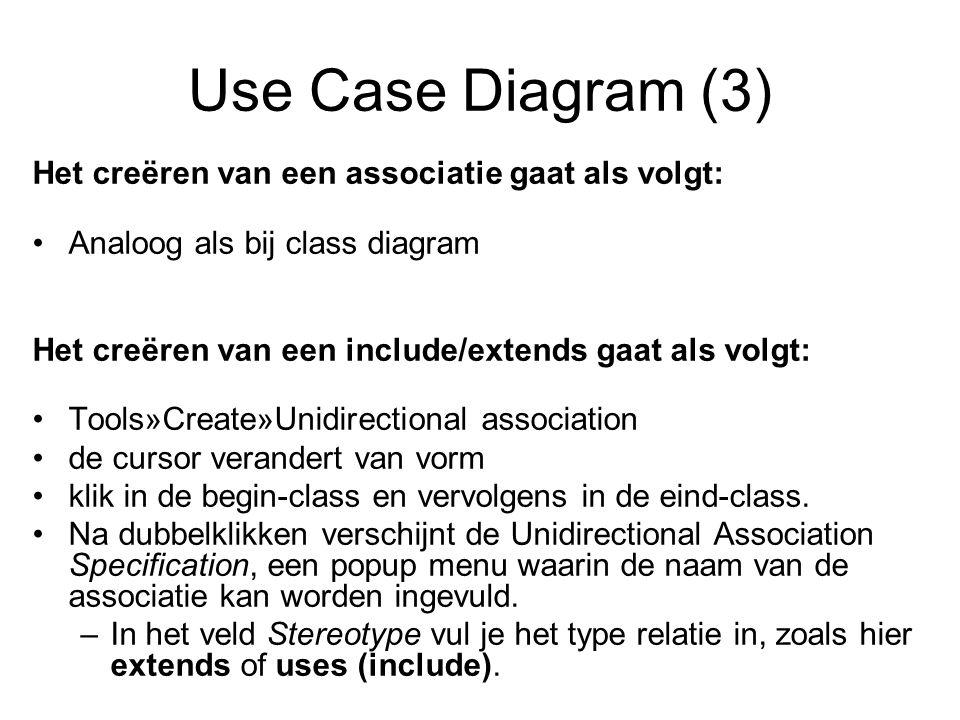 Use Case Diagram (3) Het creëren van een associatie gaat als volgt: Analoog als bij class diagram Het creëren van een include/extends gaat als volgt: Tools»Create»Unidirectional association de cursor verandert van vorm klik in de begin-class en vervolgens in de eind-class.