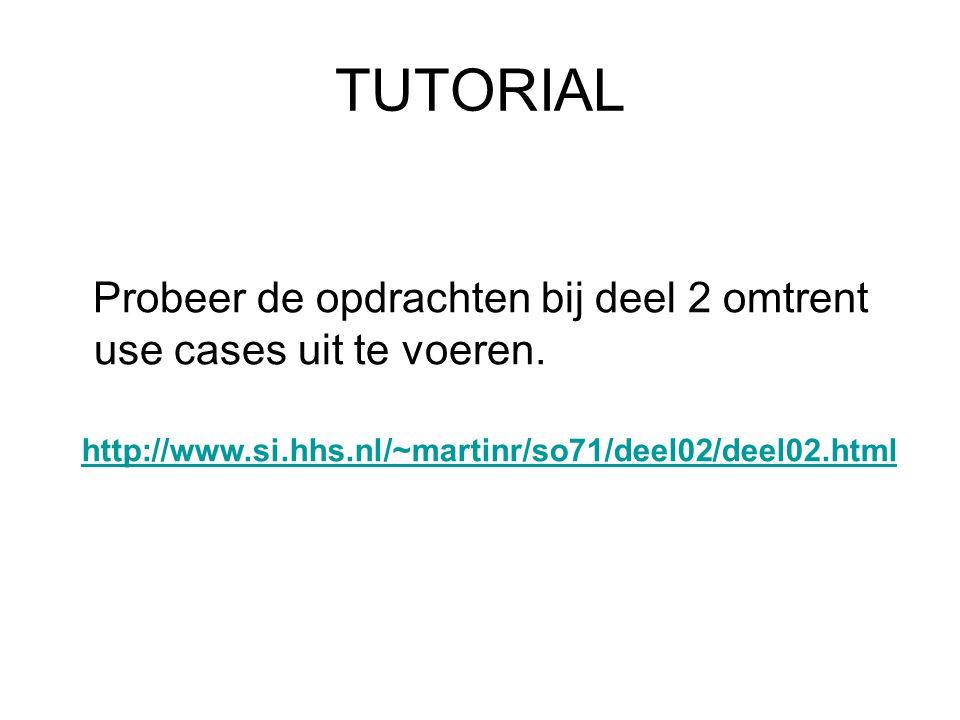 TUTORIAL Probeer de opdrachten bij deel 2 omtrent use cases uit te voeren. http://www.si.hhs.nl/~martinr/so71/deel02/deel02.html