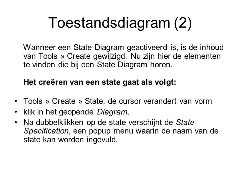 Toestandsdiagram (2) Wanneer een State Diagram geactiveerd is, is de inhoud van Tools » Create gewijzigd. Nu zijn hier de elementen te vinden die bij
