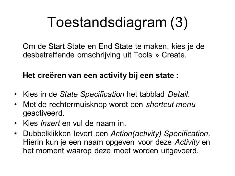 Toestandsdiagram (3) Om de Start State en End State te maken, kies je de desbetreffende omschrijving uit Tools » Create. Het creëren van een activity