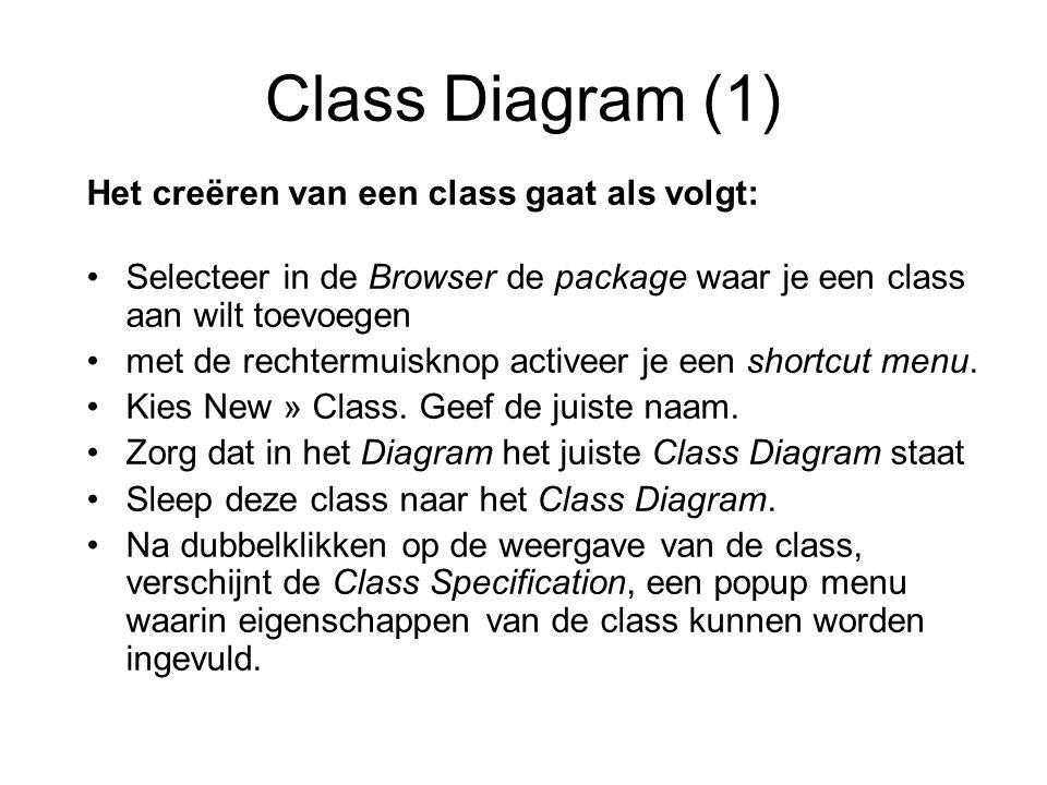 Class Diagram (1) Het creëren van een class gaat als volgt: Selecteer in de Browser de package waar je een class aan wilt toevoegen met de rechtermuis