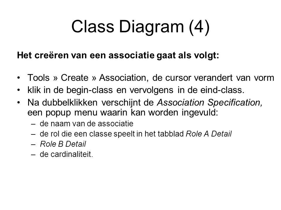 Class Diagram (4) Het creëren van een associatie gaat als volgt: Tools » Create » Association, de cursor verandert van vorm klik in de begin-class en