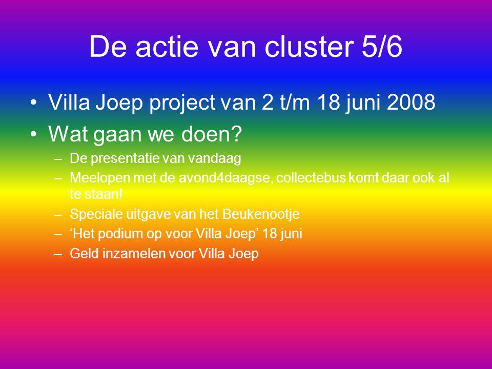 De actie van cluster 5/6 Villa Joep project van 2 t/m 18 juni 2008 Wat gaan we doen? –De presentatie van vandaag –Meelopen met de avond4daagse, collec