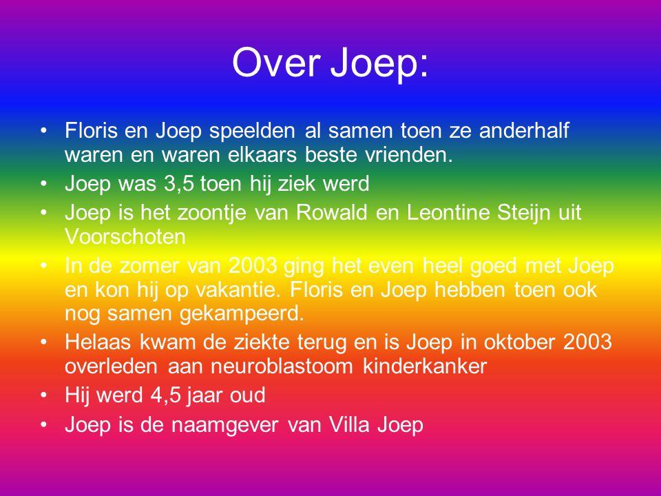 Over Joep: Floris en Joep speelden al samen toen ze anderhalf waren en waren elkaars beste vrienden. Joep was 3,5 toen hij ziek werd Joep is het zoont