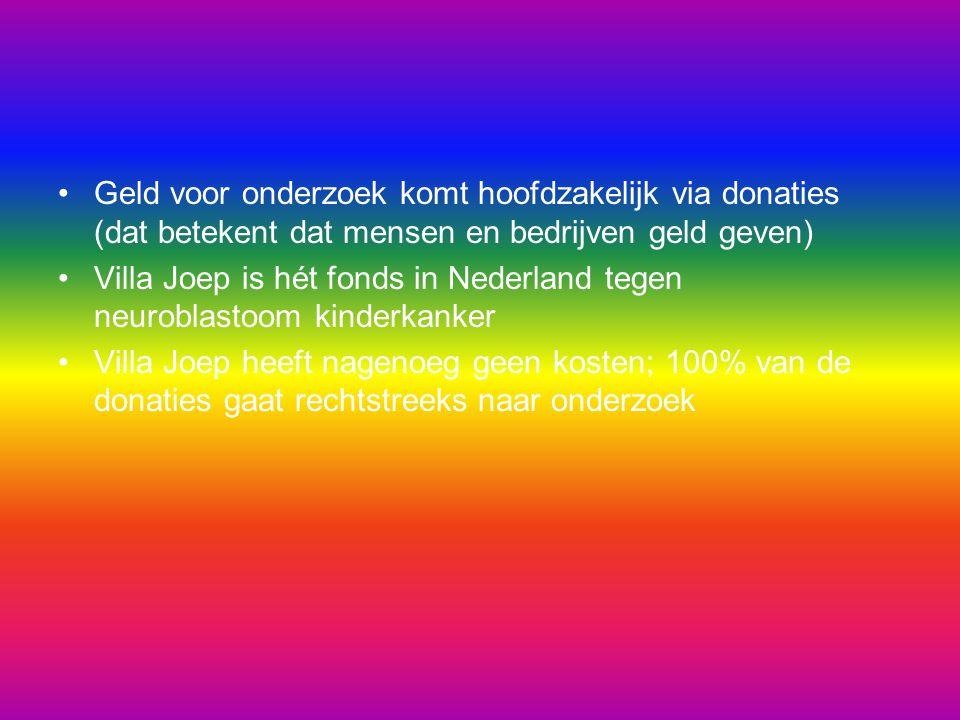 Geld voor onderzoek komt hoofdzakelijk via donaties (dat betekent dat mensen en bedrijven geld geven) Villa Joep is hét fonds in Nederland tegen neuro