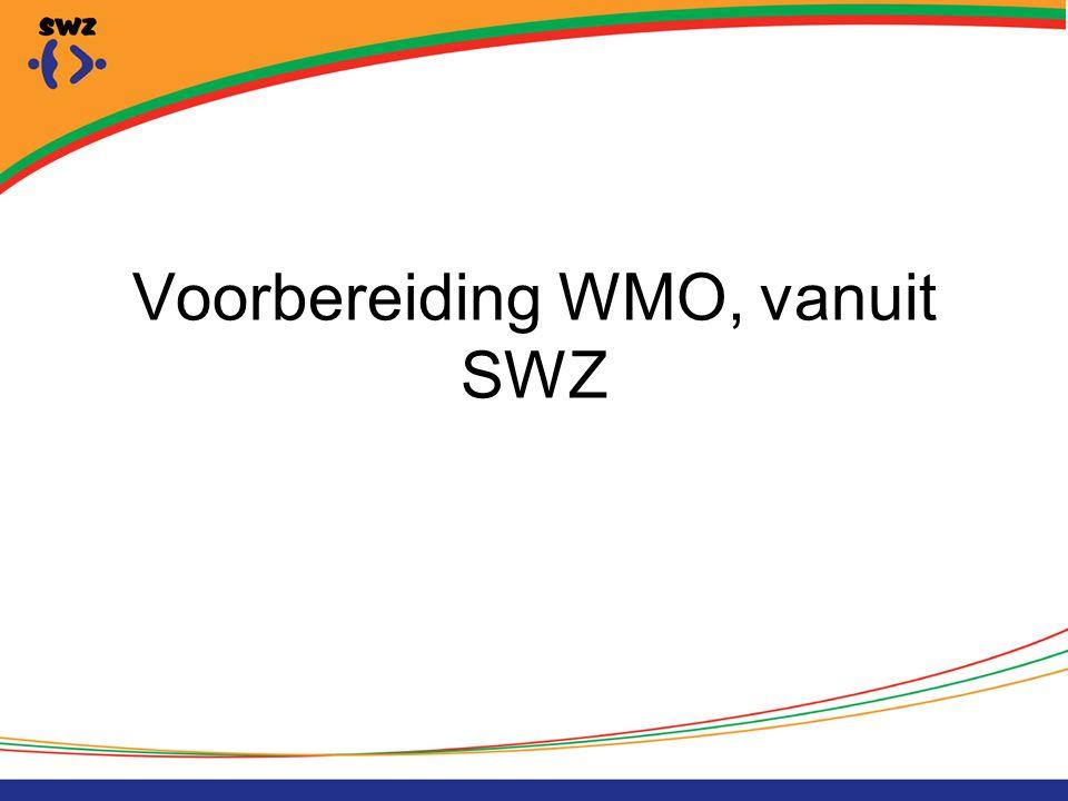Task-Force WMO In 2011 gestart met Task-force WMO Leden: Regiomanager Beleidsadviseur Clustermanagers dagbesteding en ambulante begeleiding Adviseur planning en control
