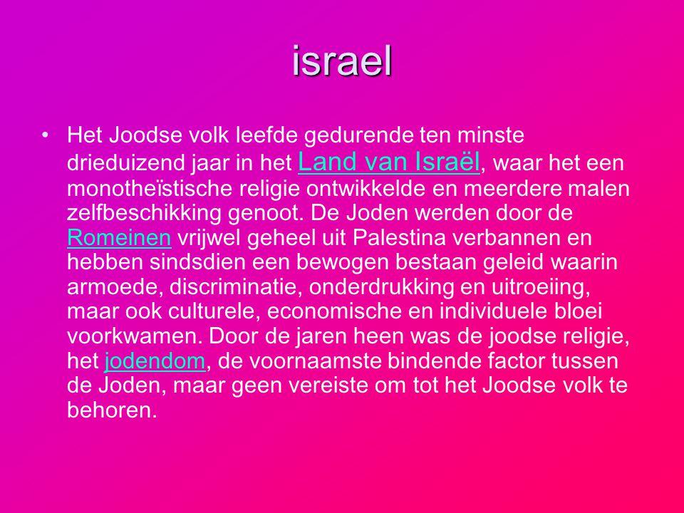 israel Het Joodse volk leefde gedurende ten minste drieduizend jaar in het Land van Israël, waar het een monotheïstische religie ontwikkelde en meerde