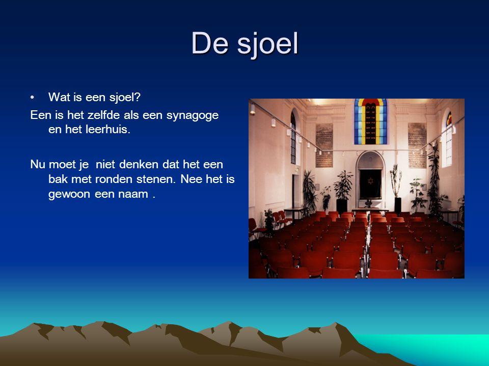 De sjoel Wat is een sjoel? Een is het zelfde als een synagoge en het leerhuis. Nu moet je niet denken dat het een bak met ronden stenen. Nee het is ge