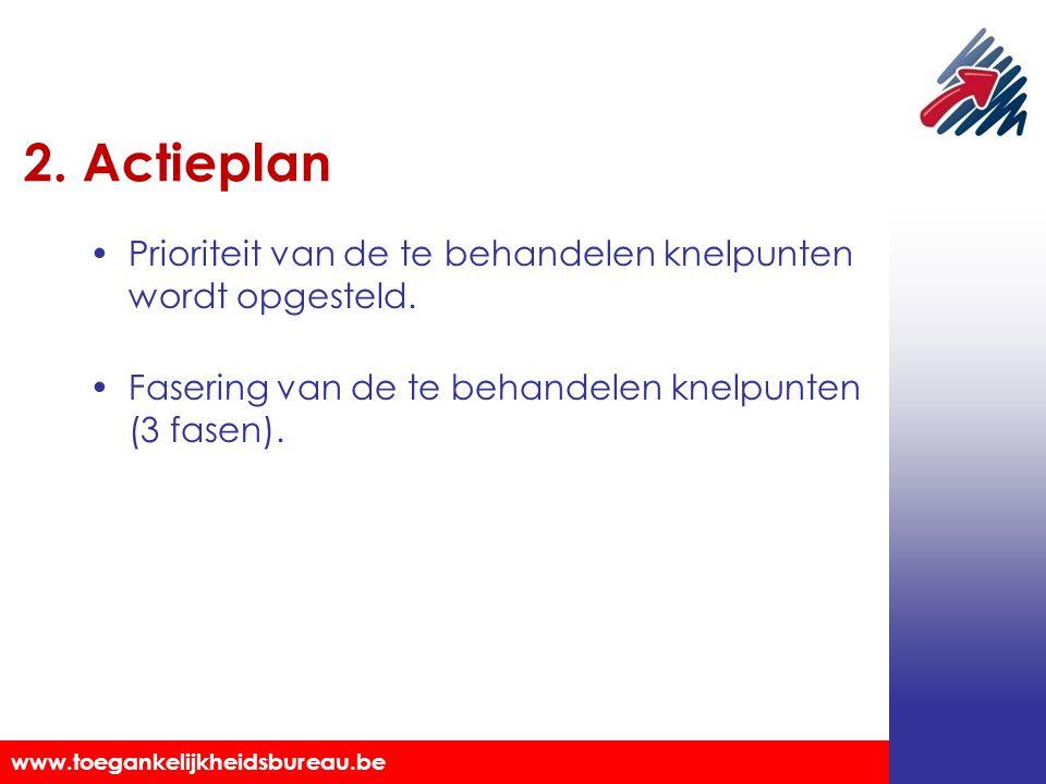 Toegankelijkheidsbureau vzw www.toegankelijkheidsbureau.be 2. Actieplan Prioriteit van de te behandelen knelpunten wordt opgesteld. Fasering van de te
