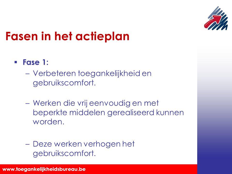 Toegankelijkheidsbureau vzw www.toegankelijkheidsbureau.be Fasen in het actieplan  Fase 1: –Verbeteren toegankelijkheid en gebruikscomfort. –Werken d