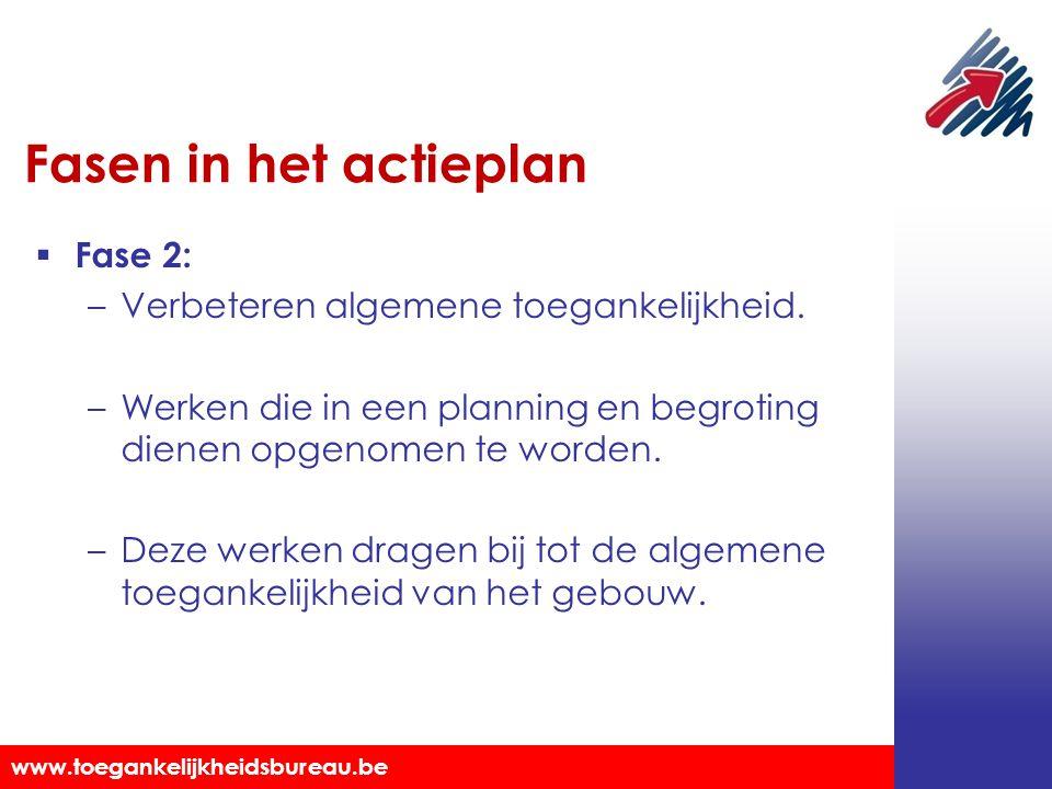 Toegankelijkheidsbureau vzw www.toegankelijkheidsbureau.be Fasen in het actieplan  Fase 2: –Verbeteren algemene toegankelijkheid. –Werken die in een