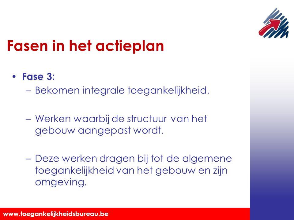 Toegankelijkheidsbureau vzw www.toegankelijkheidsbureau.be Fasen in het actieplan Fase 3: –Bekomen integrale toegankelijkheid. –Werken waarbij de stru