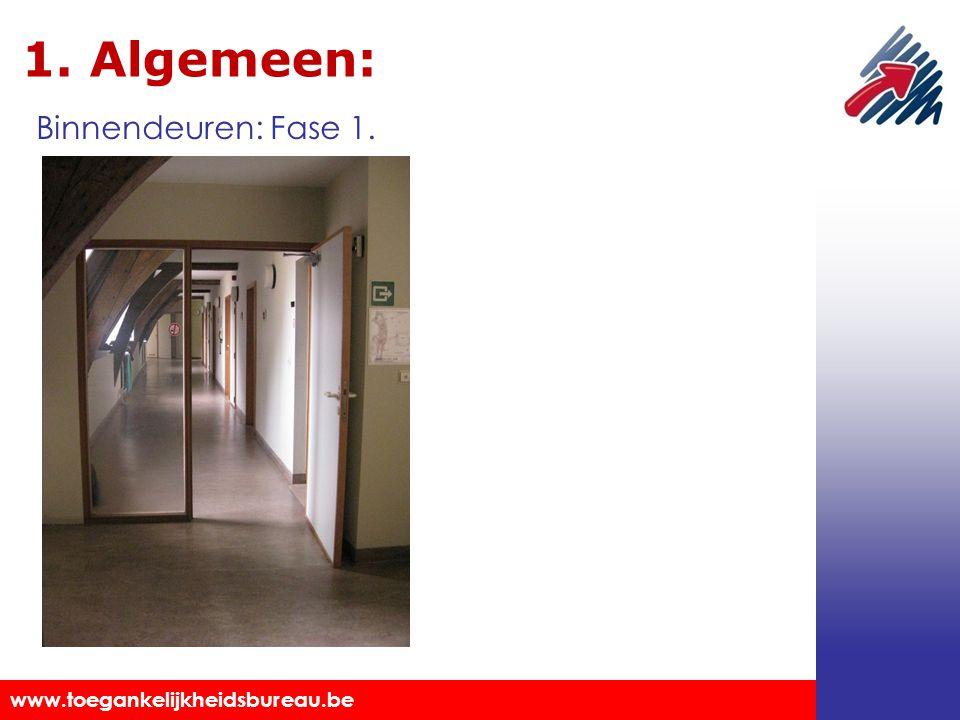 Toegankelijkheidsbureau vzw www.toegankelijkheidsbureau.be 1. Algemeen: Markeringen aanbrengen. Binnendeuren: Fase 1.