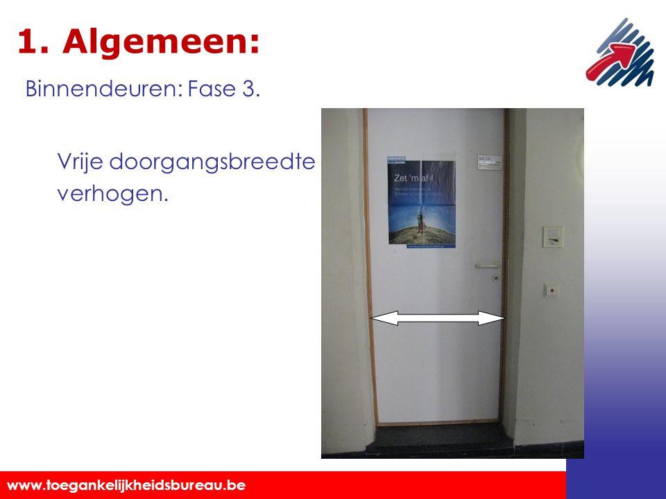Toegankelijkheidsbureau vzw www.toegankelijkheidsbureau.be 1. Algemeen: Vrije doorgangsbreedte verhogen. Binnendeuren: Fase 3.