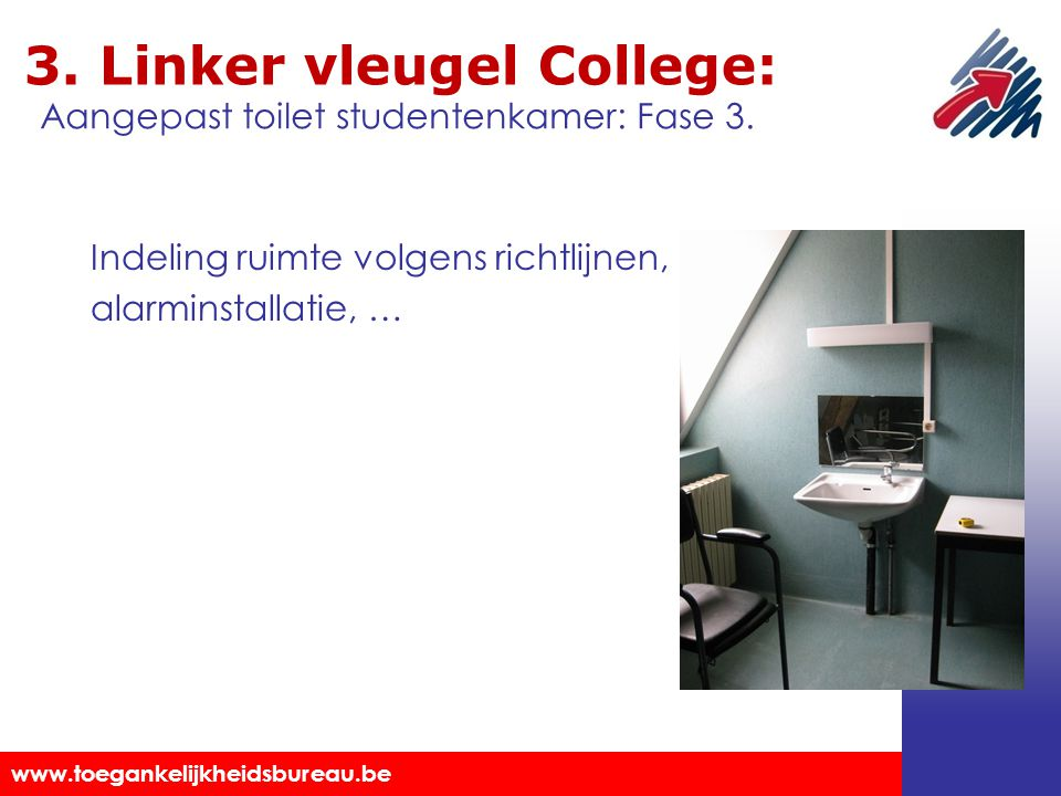 Toegankelijkheidsbureau vzw www.toegankelijkheidsbureau.be 3. Linker vleugel College: Indeling ruimte volgens richtlijnen, alarminstallatie, … Aangepa