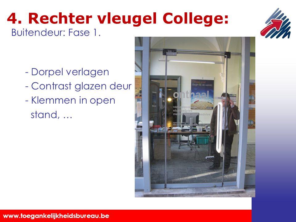 Toegankelijkheidsbureau vzw www.toegankelijkheidsbureau.be 4. Rechter vleugel College: - Dorpel verlagen - Contrast glazen deur - Klemmen in open stan