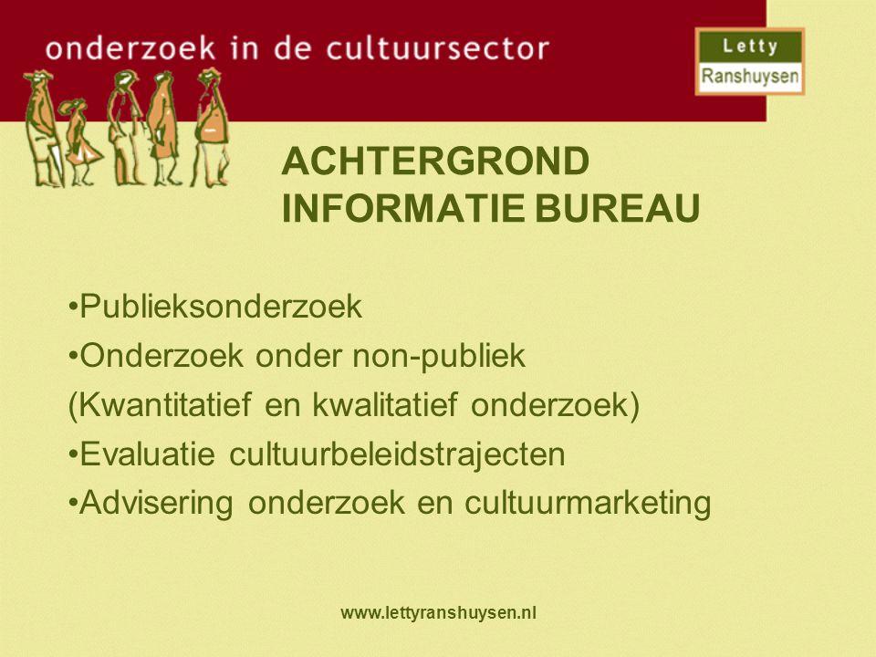 www.lettyranshuysen.nl ACHTERGROND INFORMATIE BUREAU Publieksonderzoek Onderzoek onder non-publiek (Kwantitatief en kwalitatief onderzoek) Evaluatie cultuurbeleidstrajecten Advisering onderzoek en cultuurmarketing